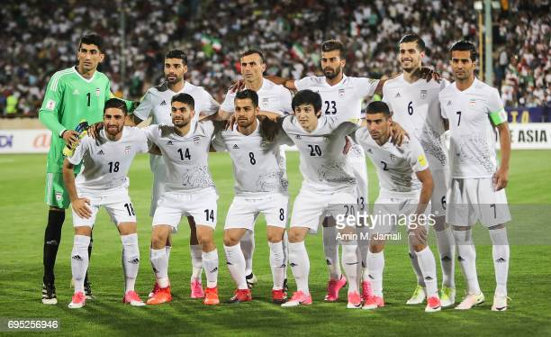 Iranian Players poses for photo team during FIFA 2018 World Cup Qualifier match between Iran and Uzbekistan at Azadi Stadium on June 12 2017 in...