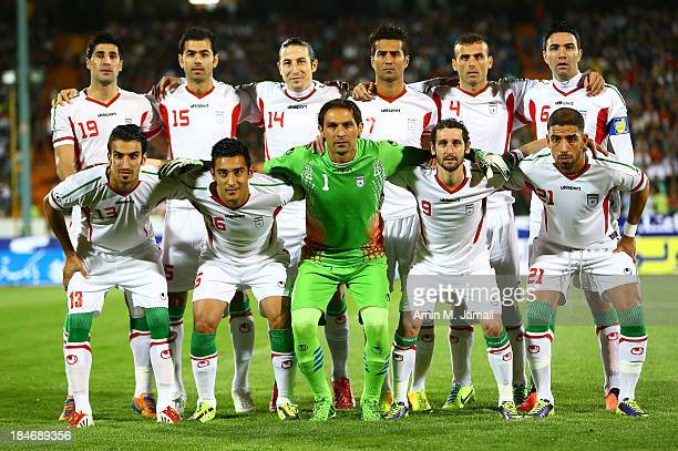 Iranian Players poses for Team photo during AFC Asian Cup Qualifiers between Iran and Thailand at Azadi Stadium Tehran Iran on October 15 2013 in...