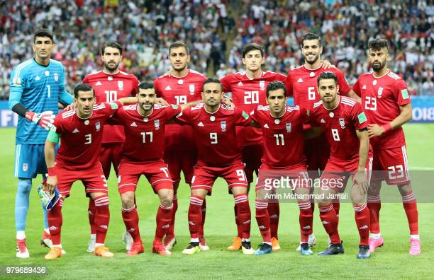 Iranian players poses for team photo during the 2018 FIFA World Cup Russia group B match between Iran and Spain at Kazan Arena on June 20 2018 in...