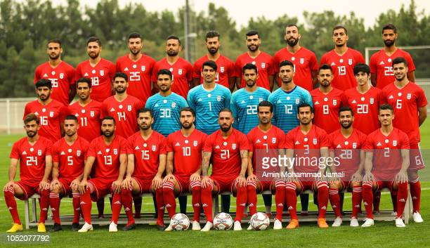 Iranian Players Poses for team photo during the Iran Training Session on October 13 2018 in Tehran Iran