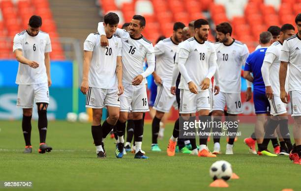 Iranian Players react during a training session before match between Iran Portugal on June 24 2018 in Saransk Russia