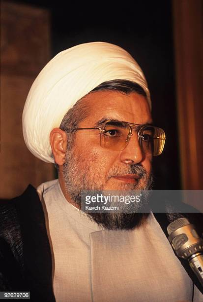 Iranian politician and cleric Hassan Rowhani a member of the Supreme National Security Council speaking at the Iranian parliament in Tehran 1999
