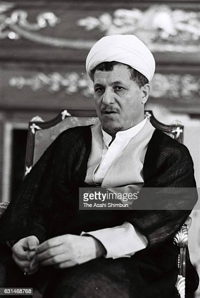 Iranian President Akbar Hashemi Rafsanjanii speaks during the Asahi Shimbun interview at Akasaka State Guest House on July 2 1985 in Tokyo Japan