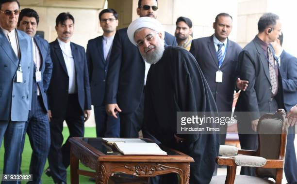Iranian President Dr Hassan Rouhani after paying tributes to a memorial of Mahatma Gandhi at Rajghat during his visit on February 17 2018 in New...