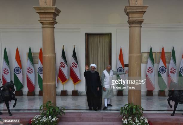 Iranian President Dr Hassan Rouhani greeted by PM Narendra Modi before meeting at Hyderabad House on February 17 2018 in New Delhi India Prime...