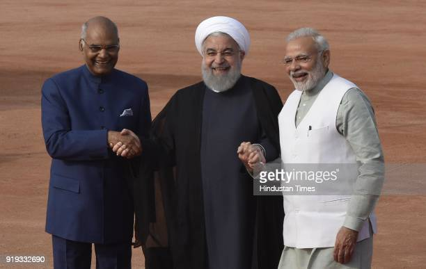 Iranian President Dr Hassan Rouhani with President Ramnath Kovind and PM Narendra Modi during a ceremonial reception at Rashtrapati Bhavan on...