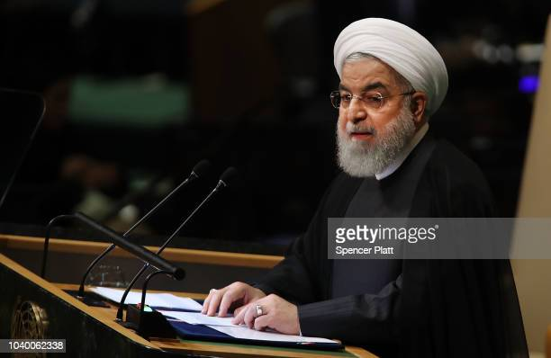 Iranian President Hassan Rouhani addresses the 73rd United Nations General Assembly on September 25, 2018 in New York City. The United Nations...