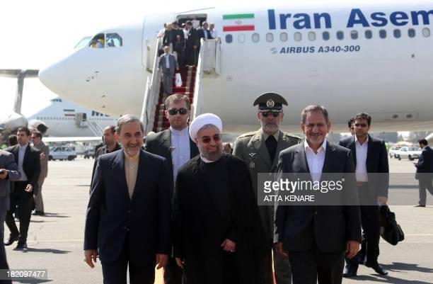 Iranian president Hassan Rouhani Ali Akbar Velayati advisor to the Islamic republic's supreme leader Ayatollah Ali Khamenei and Eshaq Jahangiri the...