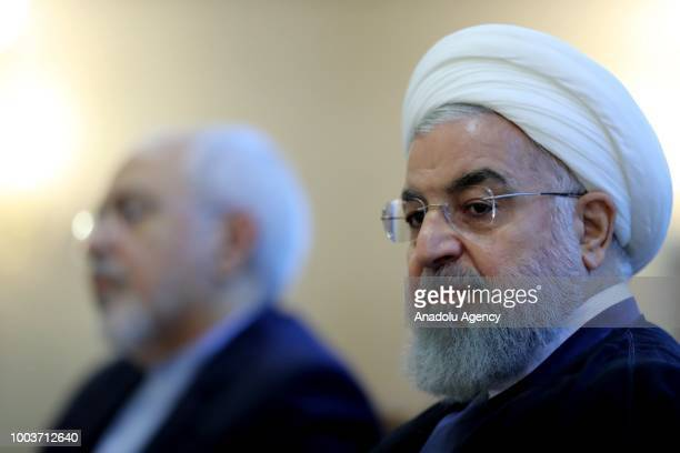 Iranian President Hassan Rouhani and Iranian Foreign Minister Javad Zarif attend the meeting with foreign embassies and diplomatic mission...