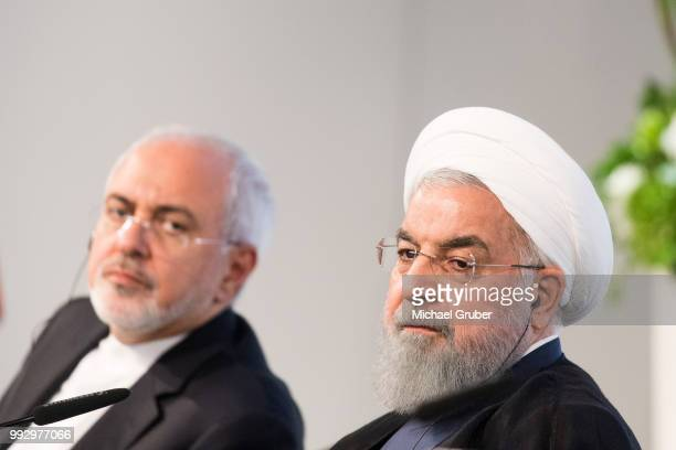 Iranian President Hassan Rouhani and Mohammad Javad Zarif Iran's foreign secretary at the Austrian Chamber of Commerce on July 4 2018 in Vienna...