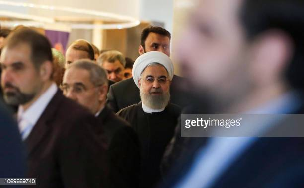 Iranian President Hassan Rouhani arrives to attend the 2nd Speaker's Conference which includes delegations from Afghanistan China Pakistan Turkey and...