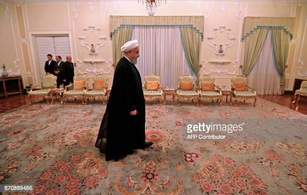 Iranian President Hassan Rouhani arrives to meet with Pakistan Army Chief General Qamar in Tehran on November 6 2017 KENARE