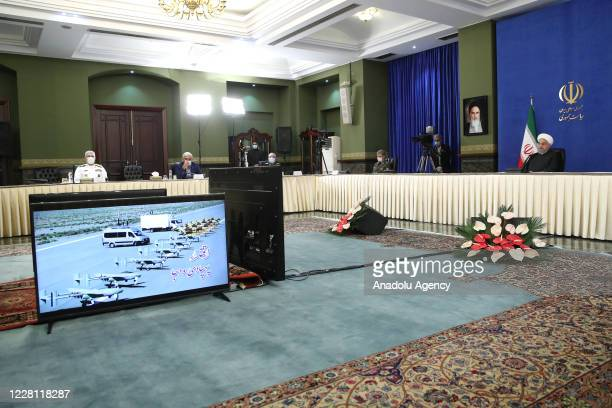 Iranian President Hassan Rouhani attends a ceremony held due to National Defense Industry Day via video conference in Tehran, Iran on August 30,...