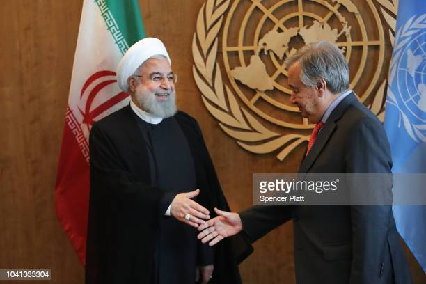 Iranian President Hassan Rouhani attends a meeting with Antonio Guterres the SecretaryGeneral of the United Nations during the 73rd United Nations...
