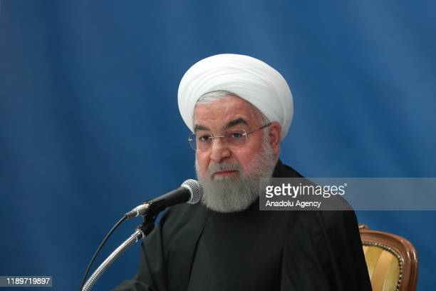 Iranian President Hassan Rouhani attends a meeting with Iranian Foreign Minister Mohammad Javad Zarif and Head of Iranian Presidential Office Mahmoud...