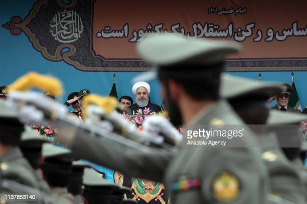 Iranian President Hassan Rouhani attends military parade held to mark the National Army Day in Tehran, Iran on April 18, 2019. Military parades by...