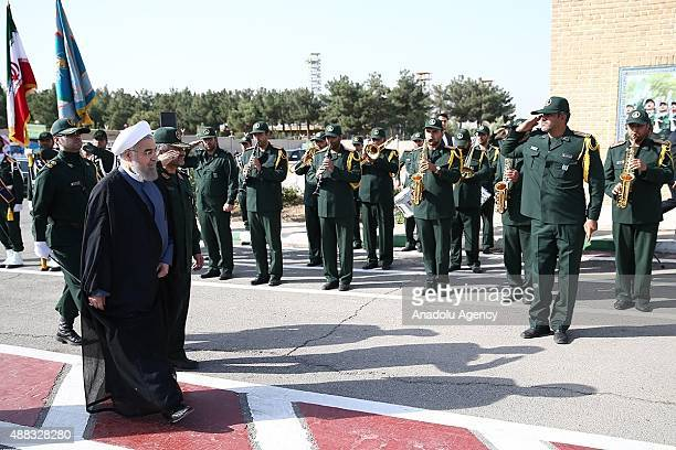 Iranian President Hassan Rouhani attends the 21st Nationwide Assembly of the Islamic Revolution Guards Corps Commanders in Tehran Iran on September...