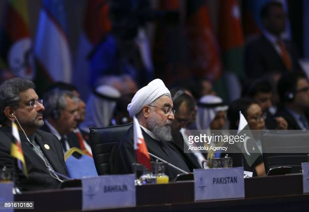 Iranian President Hassan Rouhani attends the extraordinary meeting of the Organization of Islamic Cooperation at the Lutfi Kirdar International...