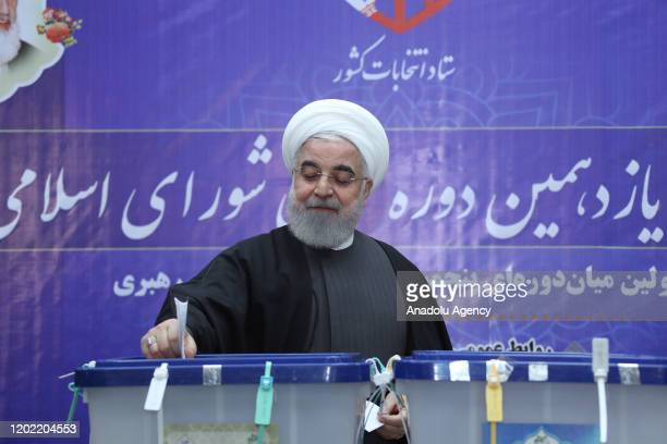 Iranian President Hassan Rouhani casts his ballot for the 11th Parliamentary elections at a polling station in Tehran, Iran on February 21, 2020.