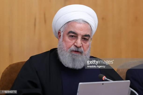 Iranian President Hassan Rouhani chairs the cabinet meeting in Tehran Iran on January 08 2020