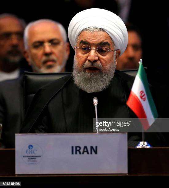 Iranian President Hassan Rouhani delivers a speech during the extraordinary summit of Organization of Islamic Cooperation at the Lutfi Kirdar...