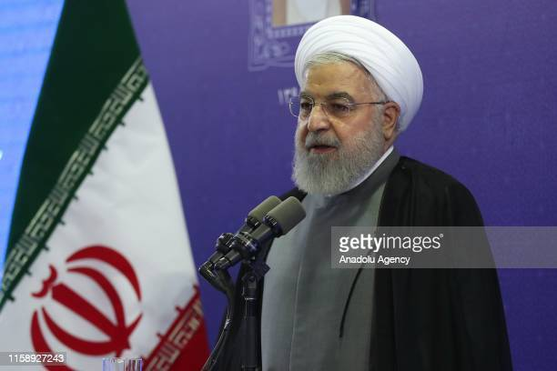 Iranian President Hassan Rouhani delivers a speech regarding the inclusion of Iranian Foreign Minister Javad Zarif in US sanctions as he attends a...