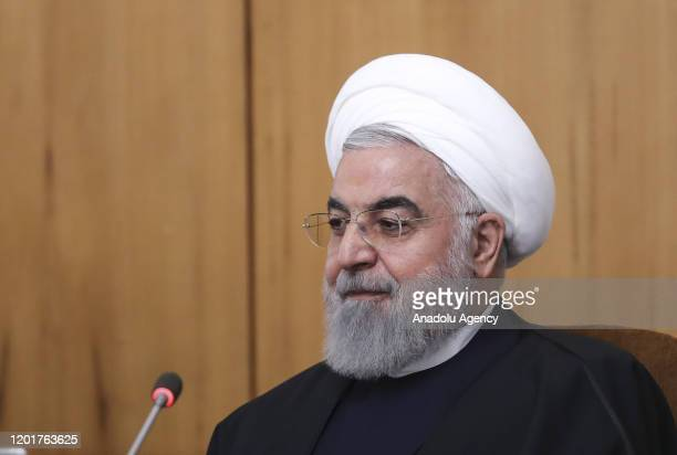 Iranian President Hassan Rouhani delivers his remarks on US sanctions after council of ministers meeting in Tehran, Iran on February 19, 2020.
