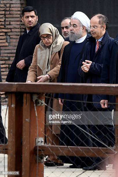 Iranian President Hassan Rouhani during his visit at the Rome's Coliseum on January 27, 2016 prior to leave to Paris.