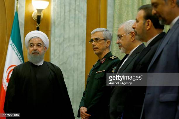 Iranian President Hassan Rouhani General Staff of the Armed Forces of Iran Mohammad Bagheri and Iranian Foreign Minister Mohammad Javad Zarif are...