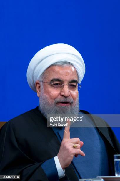 Iranian President Hassan Rouhani gives a press conference in the capital on April 10 2017 in Tehran Iran Rouhani is expected to run for a second term...