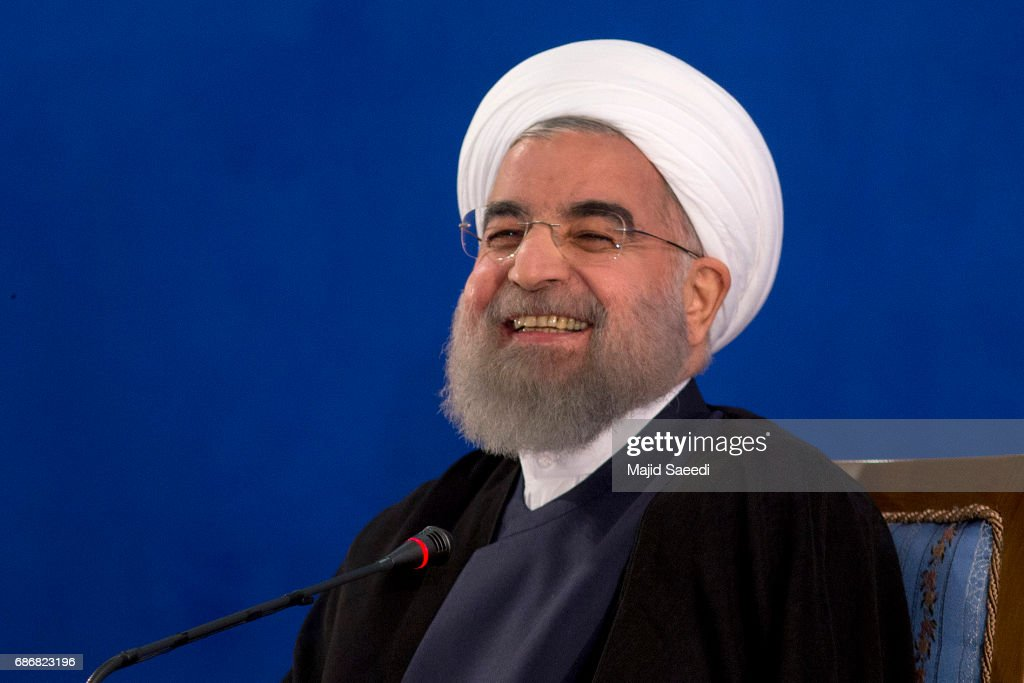 Iranian President Hassan Rouhani Gives A Press Conference In Tehran