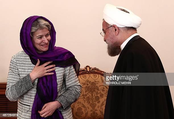 Iranian President Hassan Rouhani greets DirectorGeneral of UNESCO Irina Georgieva Bokova during a meeting in Tehran on April 29 2014 AFP...