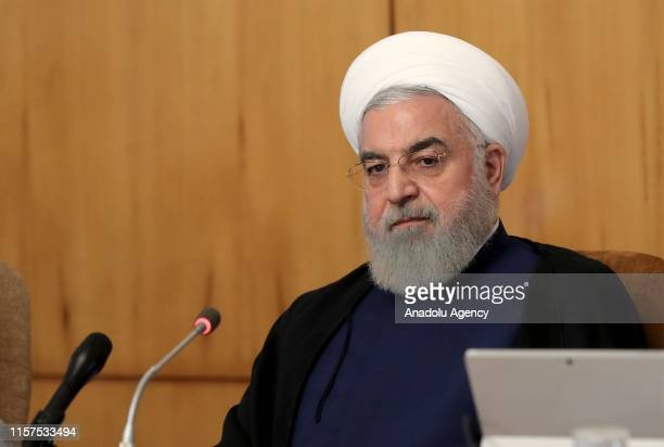 Iranian President Hassan Rouhani is seen during the cabinet ministers' meeting in Tehran Iran on July 24 2019