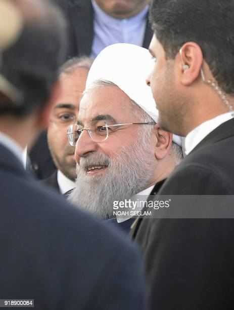 Iranian President Hassan Rouhani leaves after offering prayers at Mecca Masjid in Hyderabad on February 16 2018 The Iranian president is on a...