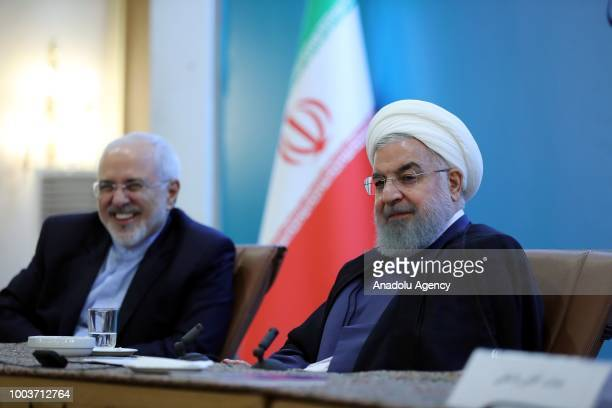 Iranian President Hassan Rouhani makes a speech during a meeting with foreign embassies and diplomatic mission representatives of Iran with the...