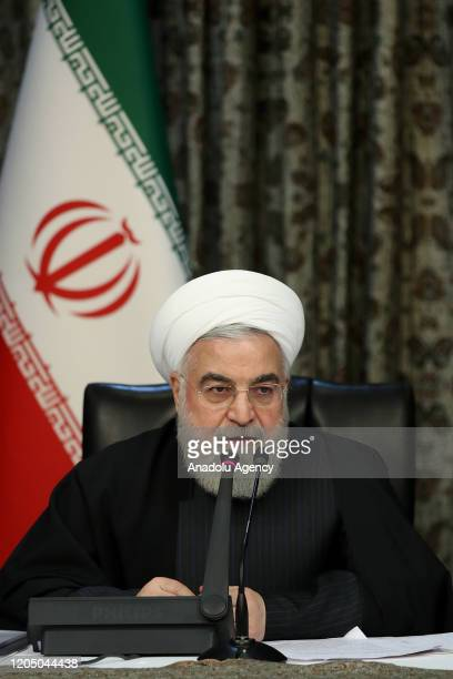 Iranian President Hassan Rouhani makes a statement on coronavirus at a cabinet meeting in Tehran, Iran on March 04, 2020.
