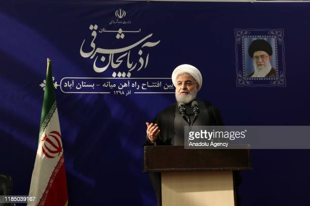 Iranian President, Hassan Rouhani makes statements on petrol price increases as he attends Miyaneh-Bostanabad railway line opening ceremony, in East...