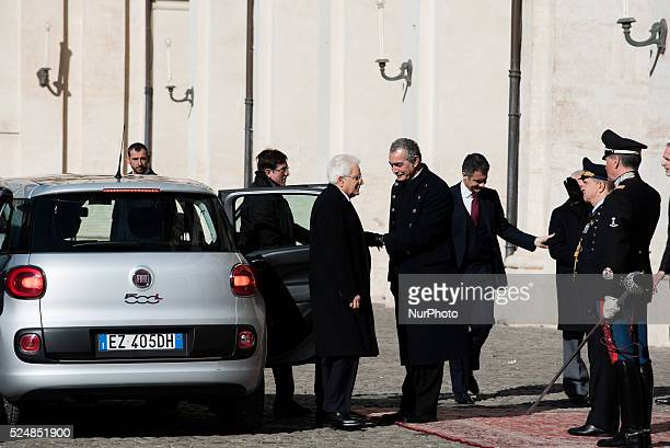 Iranian President Hassan Rouhani meet Italian President Sergio Mattarella on January 25 2016 at the Quirinale presidential palace prior to their...