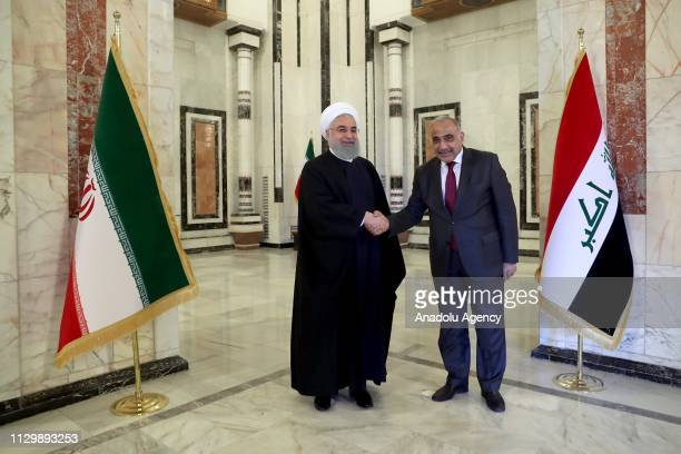Iranian President Hassan Rouhani meets Iraqi Prime Minister Adil Abdulmehdi at Iraqi Prime Ministry Palace in Baghdad Iraq on March 11 2019