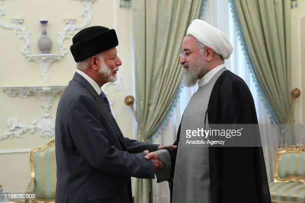 Iranian President Hassan Rouhani meets Omani Foreign Minister Yusuf bin Alawi bin Abdullah in Tehran, Iran on July 28, 2019.