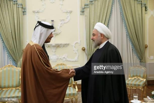 Iranian President Hassan Rouhani meets Qatari Foreign Minister Mohammed bin Abdulrahman bin Jassim Al Thani in Tehran, Iran on January 04, 2020.