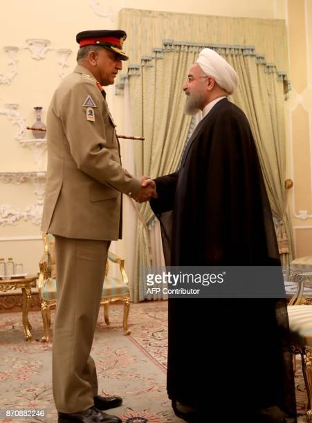 Iranian President Hassan Rouhani meets with Pakistan Army Chief General Qamar Javed Bajwa in Tehran on November 6 2017 KENARE
