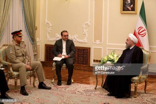 Iranian President Hassan Rouhani meets with Pakistan Army Chief General Qamar Javed Bajwa in Tehran on November 6 2017 KENARE