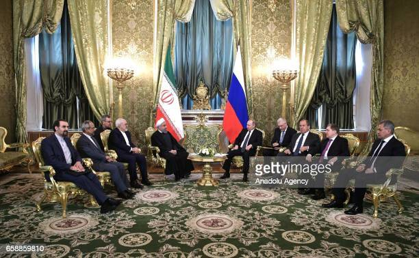 Iranian President Hassan Rouhani meets with Russian President Vladimir Putin in Moscow Russia on March 28 2017