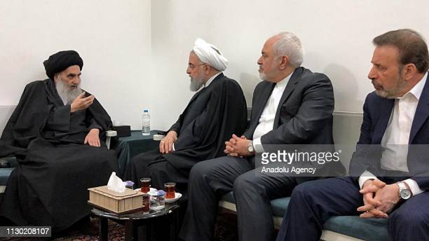 Iranian President Hassan Rouhani meets with Shia cleric Ali al-Sistani as part of his current visit to Iraq, on March 13, 2019 in Najaf, Iraq....