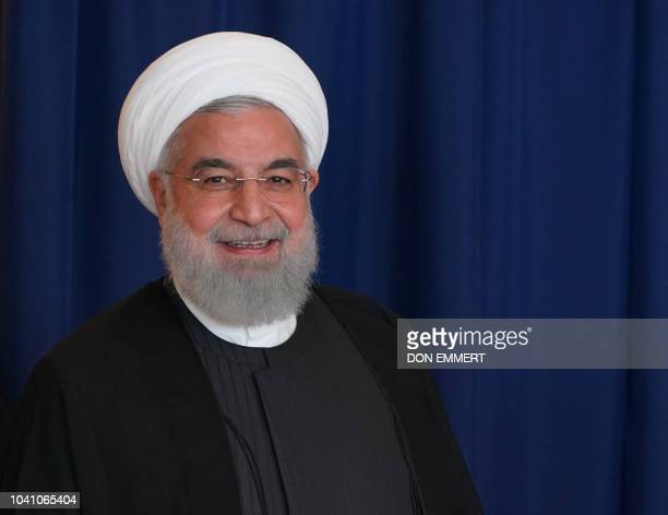 Iranian President Hassan Rouhani meets with UN Secretary General Antonio Guterres in New York on September 26 on the sidelines of the United Nations...