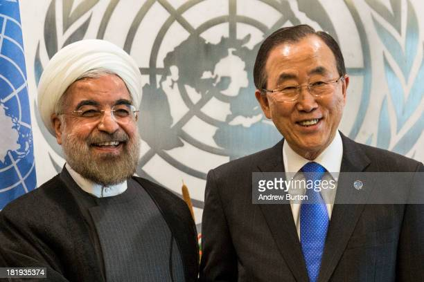 Iranian President Hassan Rouhani meets with United Nations Secretary General Ban Kimoon on the sidelines of the United Nations General Assembly on...