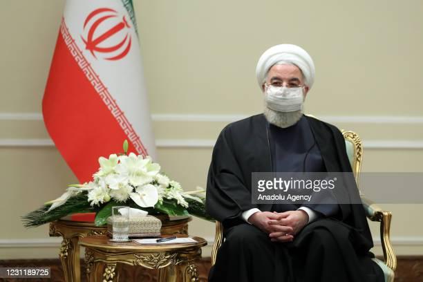 Iranian President Hassan Rouhani receives Minister of Foreign Affairs of Qatar Mohammed bin Abdulrahman bin Jassim Al-Thani , in Tehran, Iran on...