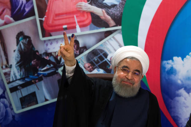 Iranian President Hassan Rouhani registers his candidacy for Iran's upcoming presidential elections at the interior ministry on April 14 2017 Rouhani...