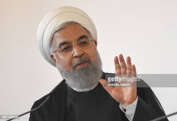 Iranian President Hassan Rouhani speaks during a join press conference with Austrian Prime Minister Sebastian Kurz after their meeting in Vienna...